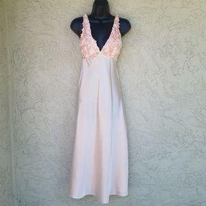 Flora Nikrooz Peach Satin Flower Bodice Nightgown